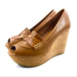 Lucky Brand LAILA Leather Loafer Platform Wedge 8